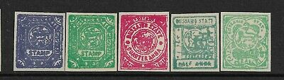 Bussahir 5 Values,Black,Mint,Wove,Imperf,Qv-Kgvi,India,Indian Native States
