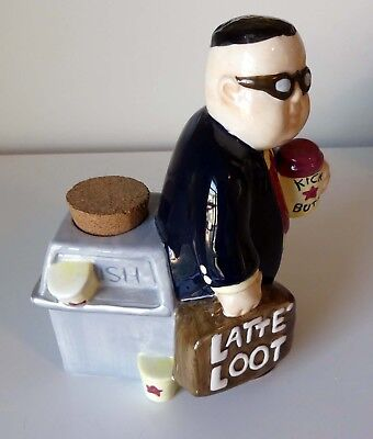 Latte Loot - Coffee - Ceramic Piggy Coin Bank, Cork, Boston Warehouse Trading Co