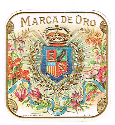 Cigar Box Label Vintage C1910 Marca De Oro Embossed Royal Crest Floral Spray