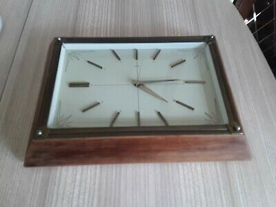 60s/70s METAMEC stylish wood & metal wall clock weighty Germany movement battery