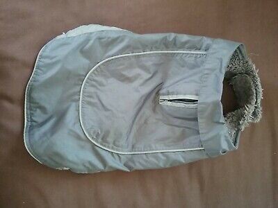 Dog showerproof fur lined coat, size small, good condition, washed and clean