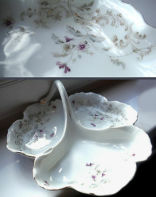 Antique French Trefoil Server-V Pretty Relief/Gilded Decoration ^
