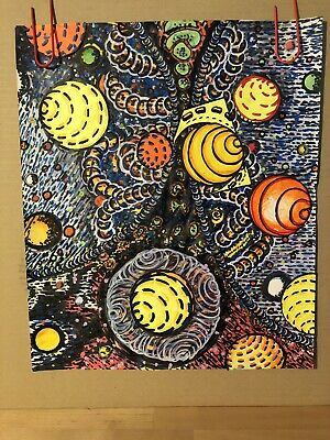 Galaxy Milky Way Mixed Media Art Original Vintage Handpainted Drawing 1970's