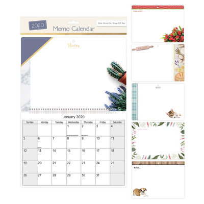 2020 Memo Calendar With Pen - Choice of 4 - FREE Postage