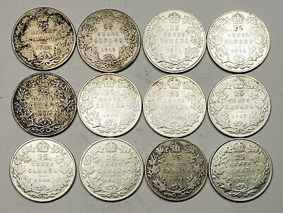Canada 1909 to 1921 Silver 25 Twenty Five Cents 12 Coin Lot Collection