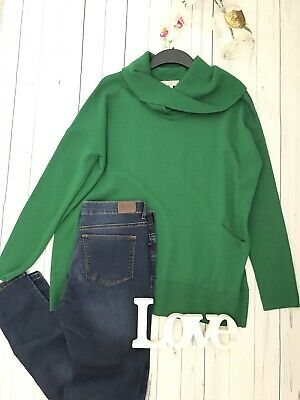 Hobbs Size L 14 16 green cowl neck slouch over sized jumper pockets warm cosy
