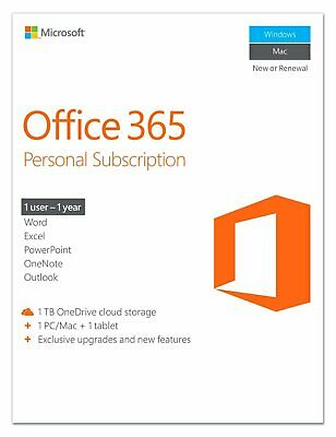 Microsoft Office 365 Personal 1 Year Subscription for 1 Device (IL/PL1-3442-P...
