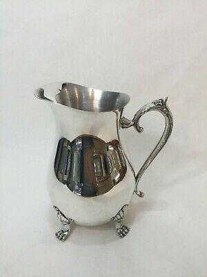 """Leonard Silver Plate Pitcher Moustache Ice Guard 4 Toe Footed, 8 1/2"""" Tall"""