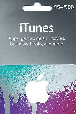 Apple iTunes Gift Card NO VALUE Rechargable $15-$500  (IL/RT6-S36-NIB)