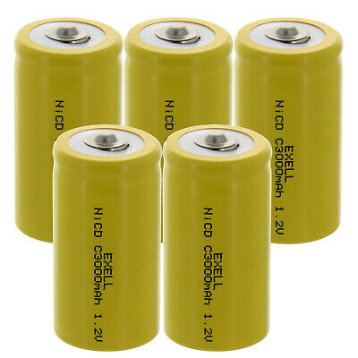5x Exell C Size 1.2V 3000mAh NiCD Button Top Rechargeable Batteries  USA SHIP