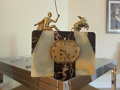 Art Deco French Marble Mantle Clock