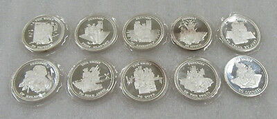 1986 Vintage Johnson Matthey Complete Set of 10 Freedom 1 oz .999 Silver Rounds