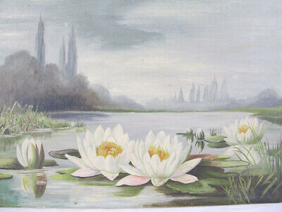 Antique Oil/Canvas Painting Dated 1892 Water Flowers on Pond Signed SEARLES yqz