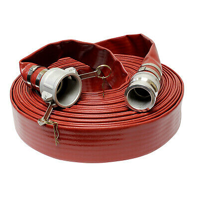 BISupply | Discharge Hose – Red 2 IN by 100 FT Flat Lay PVC Pump Discharge Hose
