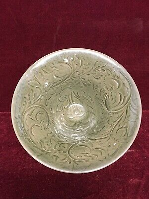 Superb Chinese red clay and Celedon glazed pottery bowl