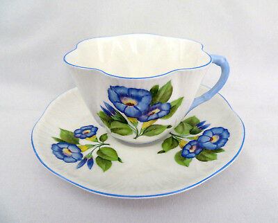 Shelley Bone China England Blue Morning Glory Cup and Saucer ~ Excellent