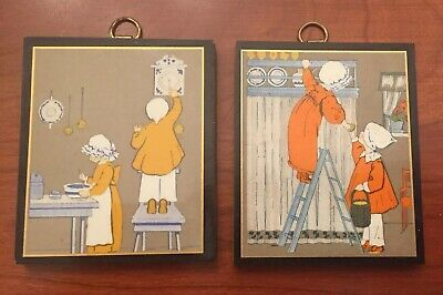 """Vintage Pyraglass Children In Kitchen PLAQUES On Wood.  Set Of 2.   2.5"""" X 3"""""""