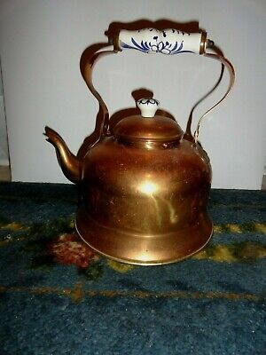 Vintage Copper Gooseneck Tea Kettle with Painted Wooden Handle Made in Portugal