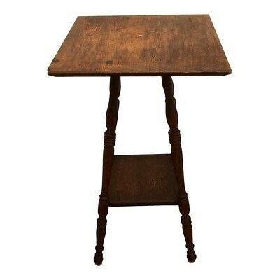 """Antique 1900's Parlor Table 16"""" Square Spindle Beehive leg Shabby Oak Victorian"""