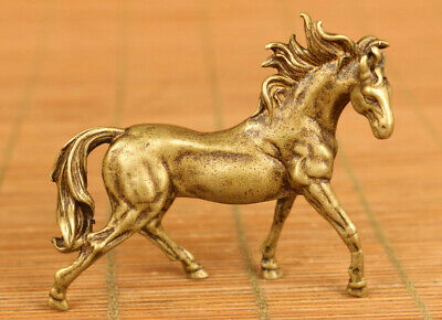 Asian old bronze  carving horse statue figue netsuke gift table decoration