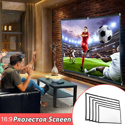60/72/84/100/120 Inch 16:9 Portable Projector Screen Home Outdoor Cinema Theater