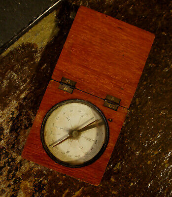 Old Antique Travelers Compass In A Wood Case Victorian Era 1800'S Unknown Make
