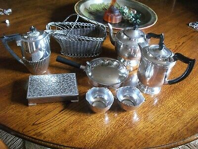 Job Lot Vintage A1 Quality Tableware Silver Plated Teapots, Cig Box, Etc.