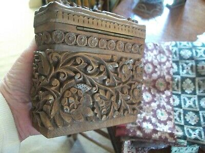 Antique/Vintage Indian Sandlewood Type Carved Case Hinged, Circular Recepticles
