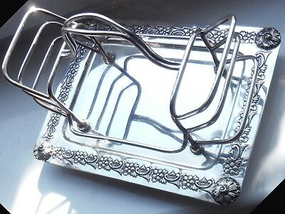 EDWARDIAN SHEFFIELD SILVER P TOAST RACK-c1905/10-WALKER & HALL ^
