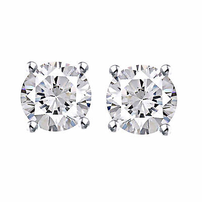 0.40Ct Natural Diamond Screw Back Stud Earrings 14K White Gold Valentine Gifts
