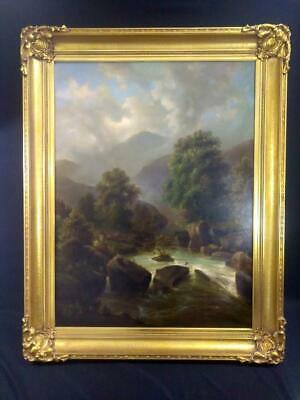 Antique American New York NY Landscape Oil Painting Hudson River Valley Original