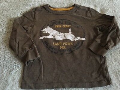 Cherokee Boys Brown White Yellow Vintage Dog Swim Derby Long Sleeve Shirt 3T