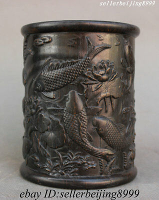 Old China Huang Huali Wood Fish Lotus Totems Pen Container Brush Pot Pencil Vase