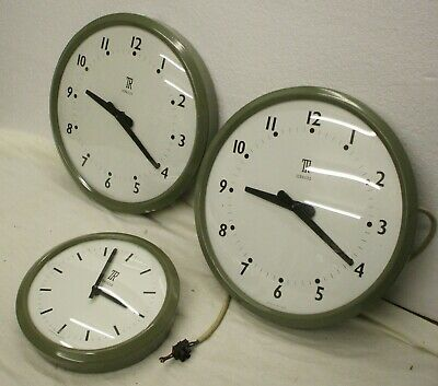 3-off Telephone Rental Electric Slave Clocks in grey cases