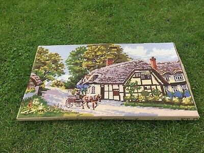 Large Vintage Tapestry Embroidered Picture Country Rural Thatch Cottage Horses