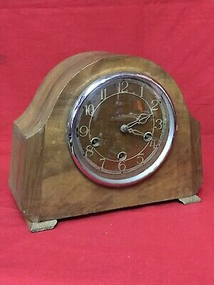Vintage Wooden Mantle Clock With Pendulum