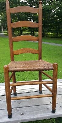 Antique Shaker Style Ladder Back Dining Chairs Rush Woven Seat (6)