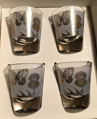 MID CENTURY Vtg FEDERAL GLASS COMPANY RUMPUS SHOT GLASSES SET Butterfly WHISKEY