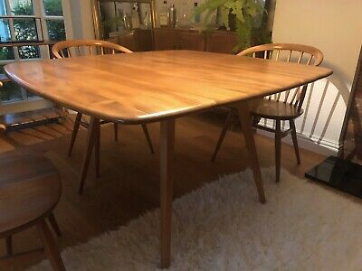 Vintage Ercol Square Drop Leaf Table, Mid Century Modern