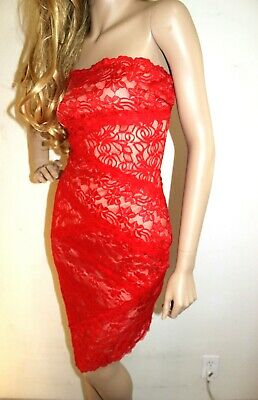 NWT bebe red beige overlay lace strapless asym sexy cocktail top dress S Small