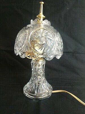 Vintage Clear Glass Cut Crystal Dome Lamp Vanity Table Boudoir Night Light USA