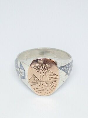 Art Deco Gold Sterling & Enamel Egyptian Signet Ring Size 10