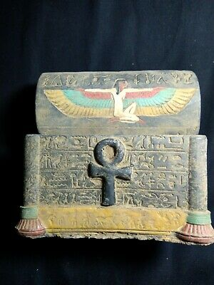 RARE ANTIQUE ANCIENT EGYPTIAN Box Isis and Key of Life 1279 Bc