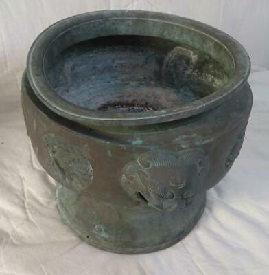 Old Antique Asian Oriental Bronze Bowl Cache Pot Planter Urn Vase Chinese China