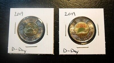 Pair of Both Plain & Coloured Canada 2019 Two Dollar (Toonie) D-Day Coins