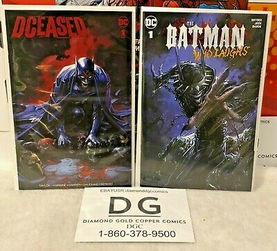 Lot of 2 Batman #1 Comics Dceased COA + The Batman Who Laughs Crain Variants DC