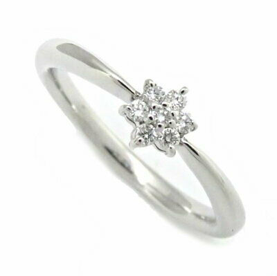 MINT! Auth MIKIMOTO 18K White Gold Diamond Ring 0.05ct 7P 4.25-4.75/ 099219