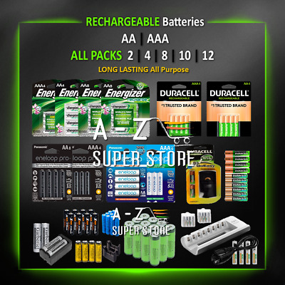 Rechargeable Batteries 4 8 AA AAA Energizer Duracell Eneloop EBL lot 18650 Ni-MH
