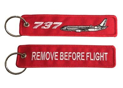 Boeing 737 Remove Before Flight Key Ring Luggage Tag