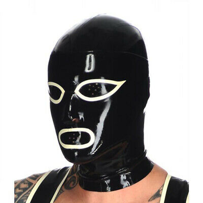 Latex Hood Open Mesh Eyes and Mesh Mouth Rubber Mask Cosplay Club Wear Costume